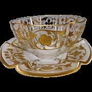 Antique Moser Bohemian Parcel Gilt Parfait Dessert Bowl Plate Set