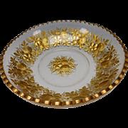 Huge Antique Moser or Lobmeyr Parcel Gilt Bowl