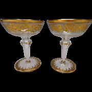 FINE Josephinenhutte Bohemian Latticino Stem Elegant Gilt Wine Glass Pair