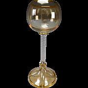 Antique Iridescent Fritz Heckert Fine Hand Blown Ribbed Stem Wine Glass