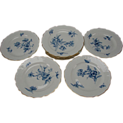 FINE Antique KPM German Porcelain China Hand Painted Floral Dinner Plate SET of 12