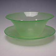SALE Antique Stevens Williams Jade Green Stourbridge Glass Dessert Bowl Plate