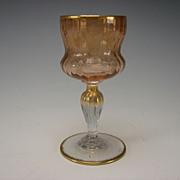 Antique Daum Nancy French Engraved Gilt Wine Glass Stem c1910