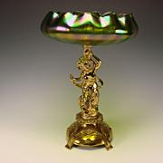 Art Nouveau Jugendstil WMF Loetz Figural Nude Mermaid Iridescent Glass Vase Bowl