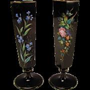 Antique Bohemian Black Amethyst Hand Painted Enamel Glass Vases c1885