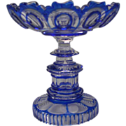c1870 Russian Imperial Glass Cobalt Blue Cut to Clear Compote Tazza Antique