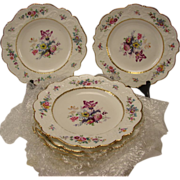 SALE Antique Victorian New Hall Lunch Plates SET of 10 Fine Floral Pattern 1501 c1875