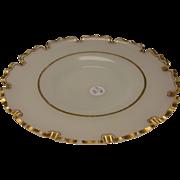 Antique Bohemian/French Opaline Gilt Van Dyke Cut Rim Charger Plate c1870