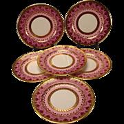 Art Nouveau Cauldon China English Porcelain Dinner Plates SET of 6 EX!