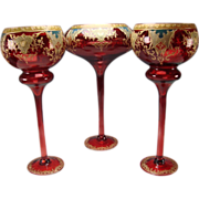 """Antique/Vintage HUGE 20"""" Cranberry Ruby Stained Tall Glass Urn Vases"""
