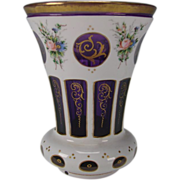 SALE Antique c1900 Cased Hand Painted White Enamel on Amethyst Glass Beaker Vase