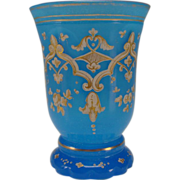 SALE Antique Bohemian Harrach Blue Opaline Enamel Gilt Biedermeier Glass Beaker Vase