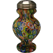 SALE Vintage Fratelli Toso Murano Millefiori Caned Glass Muffineer Sugar Shaker