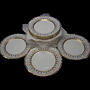SALE Antique Minton China Enamel Gilt Porcelain Dinner Plate SET of 12