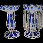 SALE Antique c1910 Bohemian Cased Cut Glass Mantle Lusters White Enamel on Blue