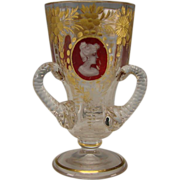 Great Gilt Moser Bohemian Ruby Cabochon Loving Cup Liquor Apertif Glass Stem