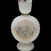 Large Antique Bohemian Bristol style Enameled Glass Vase Crown Top