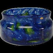 SALE Art Deco Czech Cobalt Yellow Mottled Glass Vase Low Bowl