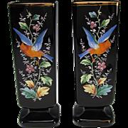 Antique Bohemian Moser Black Amethyst Glass Enameled Parrot Vases