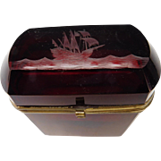 FINE Antique 19c Bohemian Jewelry or Tobacco Glass Box Casket with Engraved Ship on High Seas