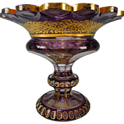 Antique Bohemian Amethyst Cased Cut to Clear Hand Painted Enamel Gilt Footed Compote