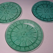 3 Jeanette Depression Doric and Pansy Glass Plates Ultramarine Blue/Green Teal