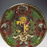 Armorial Voltaire French Swiss Pottery Charger Plaque