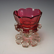 Antique Biedermeier Bohemian Cranberry Gothic Cut Glass Luster Candle Base c1840
