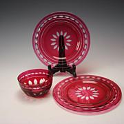Vintage Val St Lambert Cranberry Cut to Clear Elegant Glass 2 Plate/ Bowl 3 PC Kent York