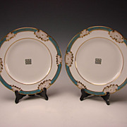 SALE Antique Royal Worcester English China Porcelain Lotus Aesthetic Gilt Cabinet Plates