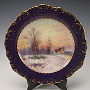 SALE Antique Minton China Signed J Dean Scenic Landscape Portrait Plate