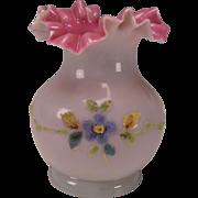 SALE Antique Stevens & Williams Coralene Cased Glass Victorian Ruffled Vase Bristol