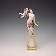 c1741 Meissen Porcelain Venus Nude Cherub Group Eberlein/Kaendler Figurine on Plinth