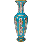 Antique Baccarat 19c Blue Opaline Cased Cut Glass Vase with French Hand Painted Floral Enamels