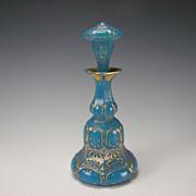 Antique French Baccarat Gilt Blue Opaline Perfume Scent Bottle