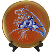 SALE Antique French Limoges Cobalt Blue Birds on Branch Super Gold Gilt Plate Charger c1880