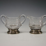Vintage Cambridge Chantilly Creamer & Sugar Sterling Silver Base Etched Glass
