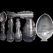 Fine Figural 1890's Washington Monument Sterling Souvenir Spoon