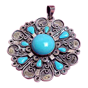 Southwestern Mexican Design Sterling Pendant w/ Silver Chain Artist Signed