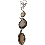 1920's Very Delicate Fine Carved Lady's Head  Shell Cameo Sterling Frame w/ G F Chain