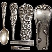 "Heavy 1888 Dominick & Haff Floral Rococo 6"" Sterling Silver Spoon"