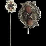 Antique 14K Gold & Coral Stickpin