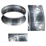 SOLD English Chester Sterling Hallmarked Napkin Ring Circa  1923
