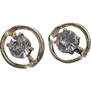 Large Bright Rhinestone Pair of Clip On Earrings