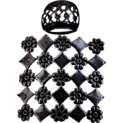 Teeny Tiny French Black Glass Perfume w/ Turquoise Stone