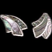 Silver & Abalone Shell Screw On Earrings