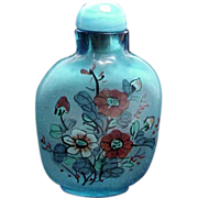 1920's-1930's Chinese Blue Glass Reverse Painted Small Snuff Bottle