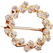Small Brilliant Sparkling Beautiful Rhinestone / Paste Antique Pin