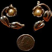 Pearl & Leaf Sterling Silver Earrings