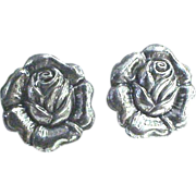 """Sterling 3 piece set, Pin & a pair of earrings """"Roses"""""""